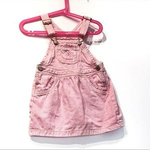 Oshkosh Vintage 3T Pink Pinstripe Overall Dress
